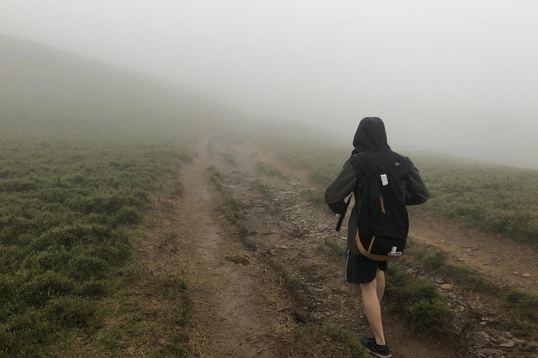 a hike in the fog